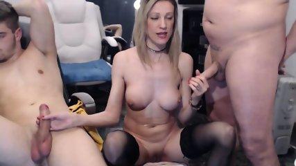 Blonde Slut Serves Two Guys