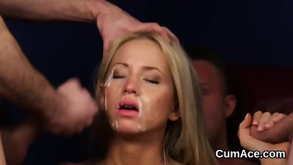 Horny centerfold gets cumshot on her face gulping all the jizz