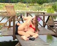 Hot babe loving lake view - scene 8