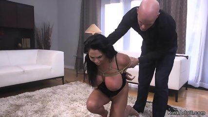 Mob rough fucks huge tits slave in bondage