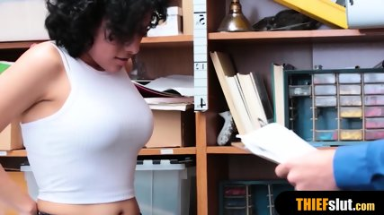 Cute latina shoplifter rough fucked by a pervy mall cop