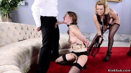 Master bangs two hot slave sluts