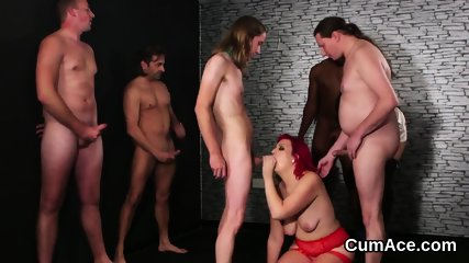 Flirty beauty gets cumshot on her face eating all the charge