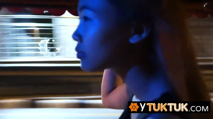 Shy and sweet Asian teen takes the tuk-tuk to visit a white sex tourist with a big cock