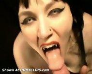 Sexy gothic Vampire gives Blowjob - scene 1