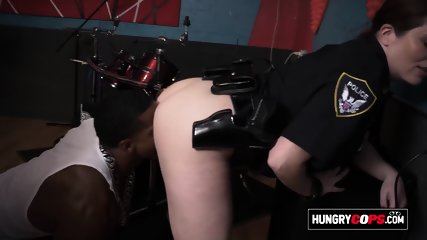 Hungry cops fuck a big black cock at the studio after a police procedure to find the biggest cock.
