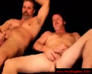 Two Middle Aged Hairy Men Tickling Eachothers Erected Dicks