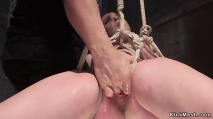 Babe hogtied in backbend suspension