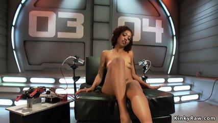 Ebony has intense orgasms on machine