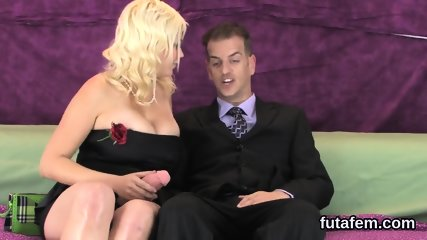 Nymphos screw fellas butthole with monster strap-on dildos and splatter jizz