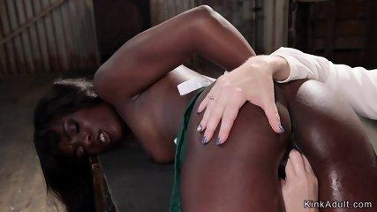 Blonde lesbian anal fucked by ebony babe