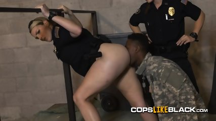 Desiring female cops love getting their assholes munched by a black dude with massive pecker in a hi