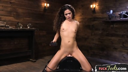Sybian Riding Babe Fucked By Sex Machine