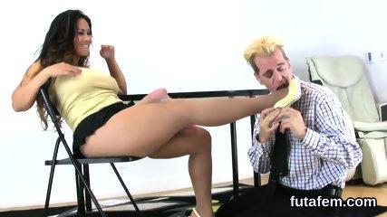 Chicks penetrate fellas anus with huge strap-ons and splatter jizz