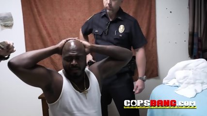 Black bear bags hard these horny big titted officers with his huge prick to get out of problems with