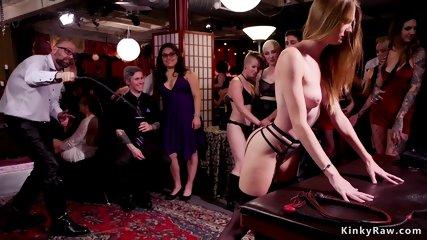 Ebony has double penetration at orgy party
