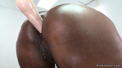 Huge tits ebony fucking machine