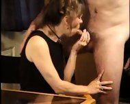 Mature Lady licks Sperm from Table 1 - scene 1