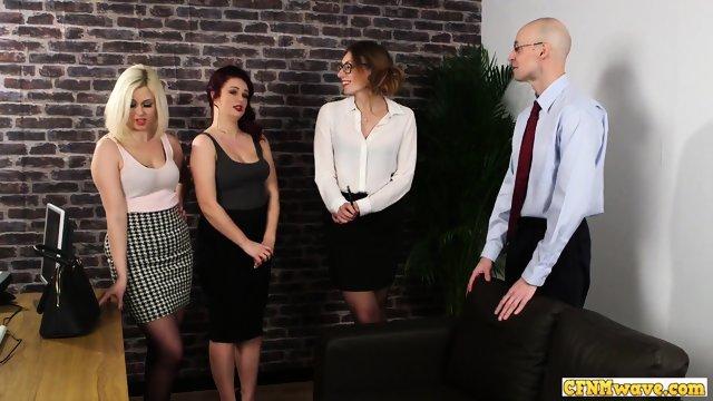 Cfnm sissy asstoyed by femdom group