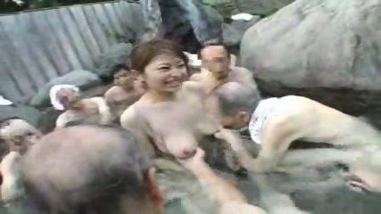 Japanese Babe gets gangbanged
