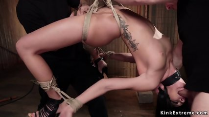 Sub in backbend suspension mouth banged