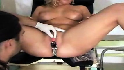 Blonde gets examined on Gyno-Chair - scene 9