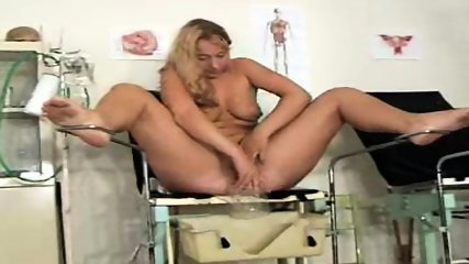 Blonde gets examined on Gyno-Chair - scene 2