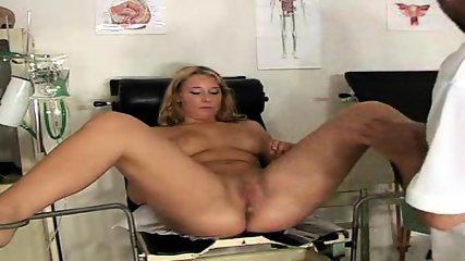 Blonde gets examined on Gyno-Chair - scene 6