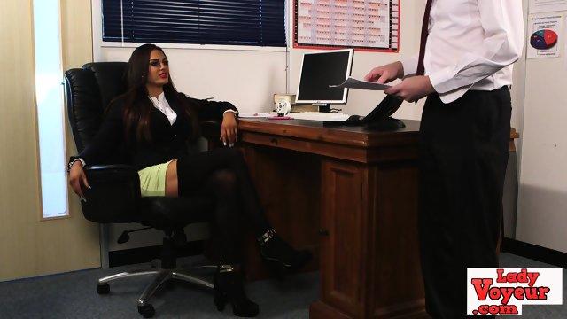Naughty cfnm babe humiliating her sub