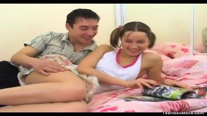 Flat Chested Teen Rides Her Boyfriend - scene 1