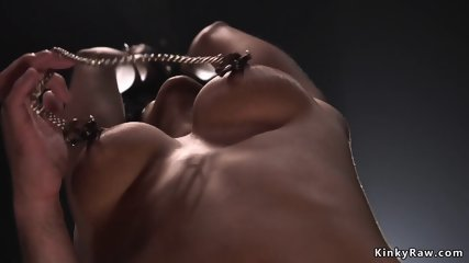 Tied ebony squirter anal fucked