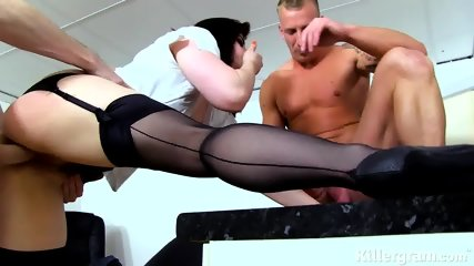 Hardcore Threesome Sex In The Office