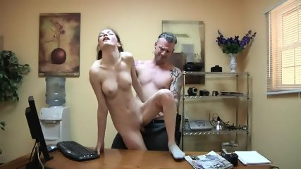 Skinny Babe Banged On Desk - scene 11
