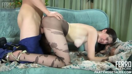 Chick With Pantyhose Rides Dick