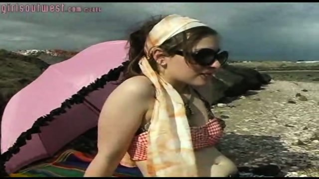 Girl gets off on the Beach