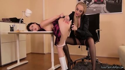 Submissive Brunette Dominated By Hot Blonde Lesbian MILF