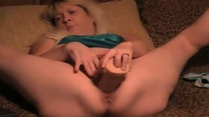 Mature Blonde Wife Takes Big Massive Dildo In Her Cunt - scene 2