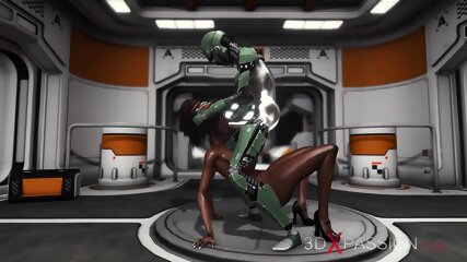Horny black girl gets fucked hard by sex android in base camp on exoplanet