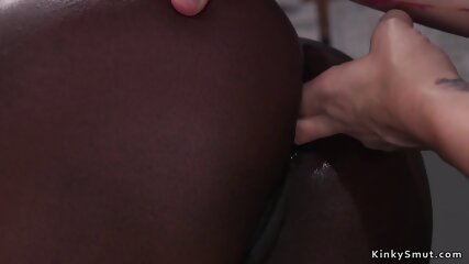Ebony is spanked and anal fingered
