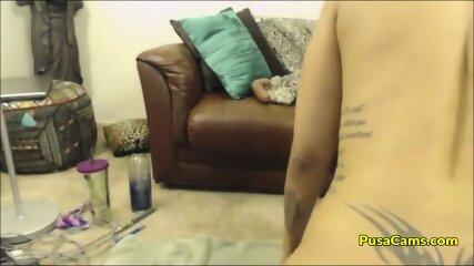 Ebony Latina FUCKS HER BIG ASS with TATTOOS