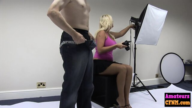 Femdom blonde gives reach around to cock