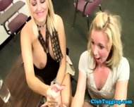 Handjob Loving Blondes Play With Cock - scene 12