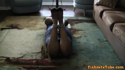 Thick Ebony Girl Cruelly Hogtied & Gagged by Mature Domme