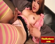Tattooed Young Tgirl In Stockings Plays