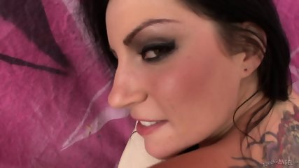 Tattooed Brunette With Sexy Fishnets Gets Fucked In Ass - scene 6