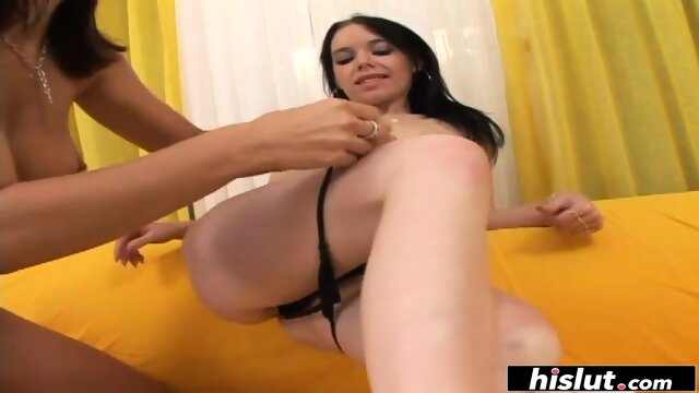 Mona Lee and Nella passionately fucking on the couch