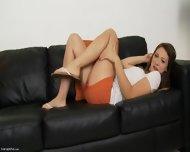 Amazing Solo On Black Leather Sofa - scene 1
