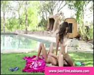 Brunette Lesbians Licking Pussy By Pool Outdoors - scene 9