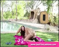 Brunette Lesbians Licking Pussy By Pool Outdoors - scene 5