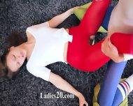Charming Lezzies In Pantyhose Enjoying Strap - scene 10